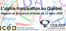 L'alpha-francisation au Québec, visuel de la journée d'étude du 11 mars 2020